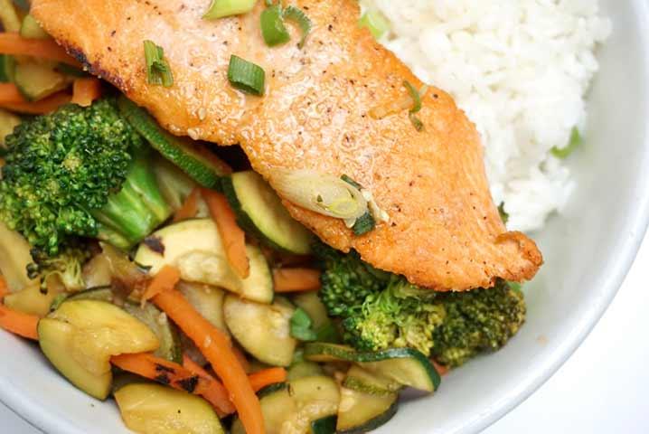 healthy wild salmon and organic veggies at The Plant Cafe Organic San Francisco